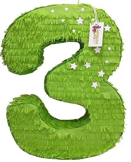 Amazon.com: apinata4u grande verde brillante número tres ...