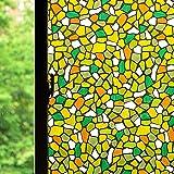 Window Film Privacy Color Window Sticker, Colorful Decorative Window Vinyl, Non-Adhesive Home UV Blocking, Privacy, Heat Insu