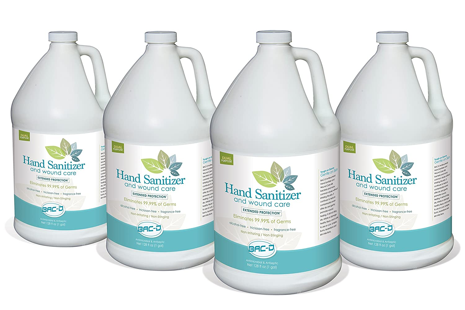 BAC-D 635 Alcohol Free Hand Sanitizer and Wound Care, 1 Gallon Refill, 128 oz. (Pack of 4)