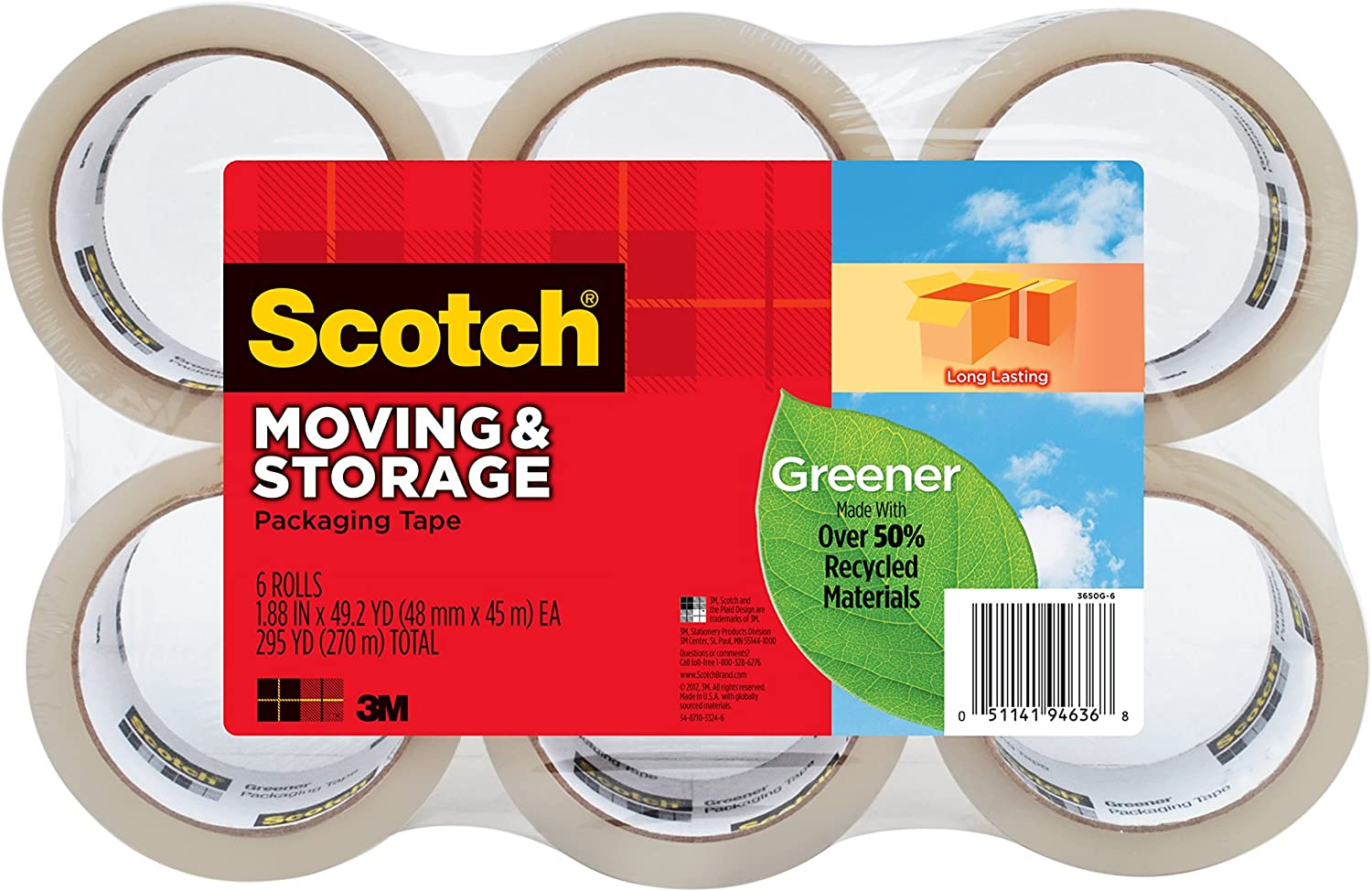 Memphis Mall Scotch Greener Long Lasting Moving Max 75% OFF Packaging Tape Storage 1.8