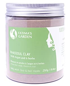 Rhassoul Clay by Fatima's Garden, 100% Natural Moroccan Ghassoul Clay for Face, Hair & Hammam; enriched with Argan and 6 herbs, cleansing & softening properties, Purify skin/hair-8.8 oz/250gr