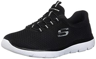 272fcf663e69 Skechers Summits Womens Slip On Bungee Sneakers Black White 5