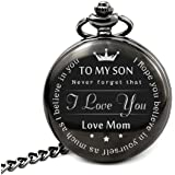 """To My Son - Love Mom "" From Mother to Son Gifts From a Mother to a Son Pocket watch Alfy"