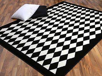 Teppich trendline schwarz weiß raute 4 größen: amazon.de: küche