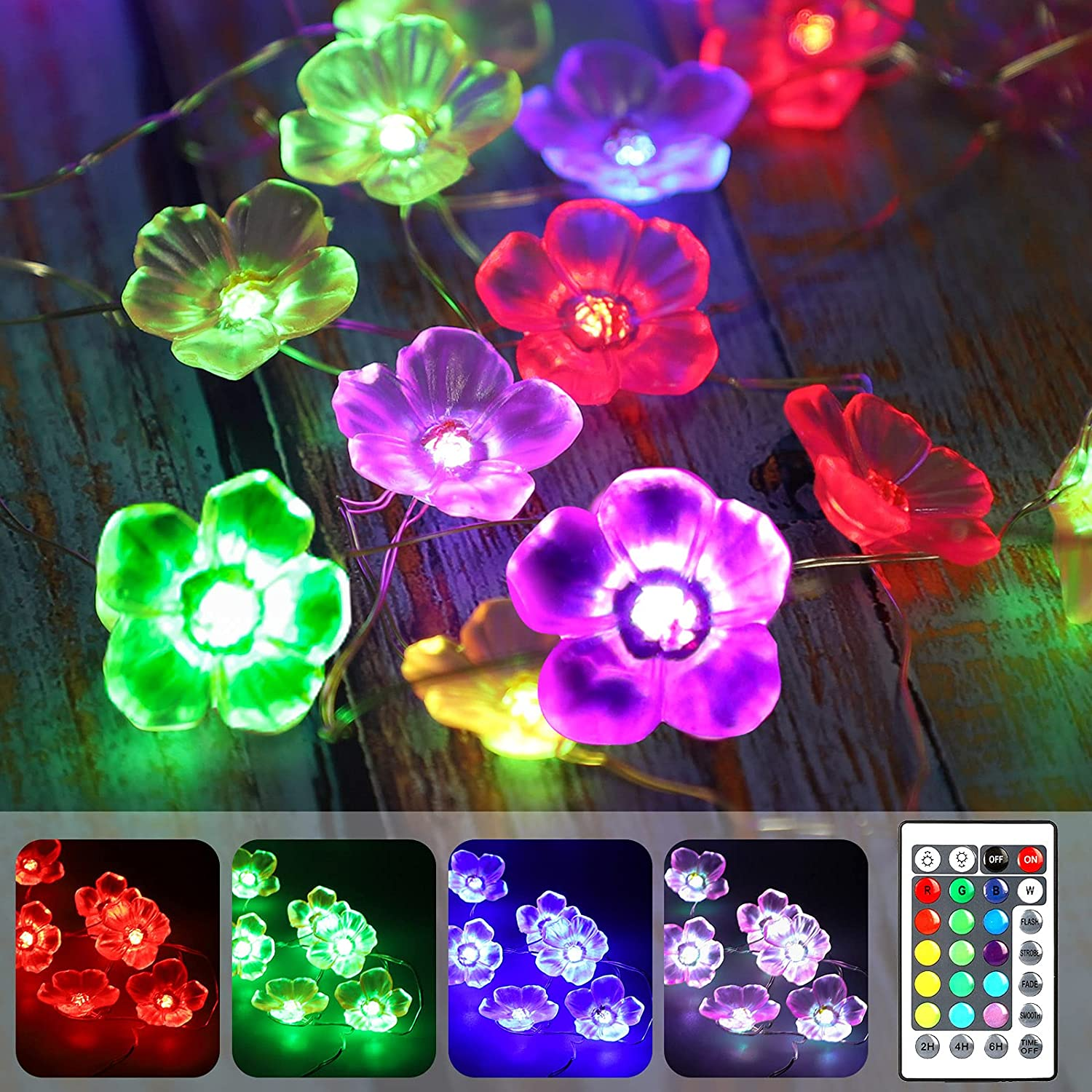 EEEKit 40 LED Cherry Blossom Flower String Lights, 16 Colors Changing Remote Control 3D Flowers Decorative USB and Battery Operated Waterproof Outdoor Lights for Wedding Bedroom Wall Decor