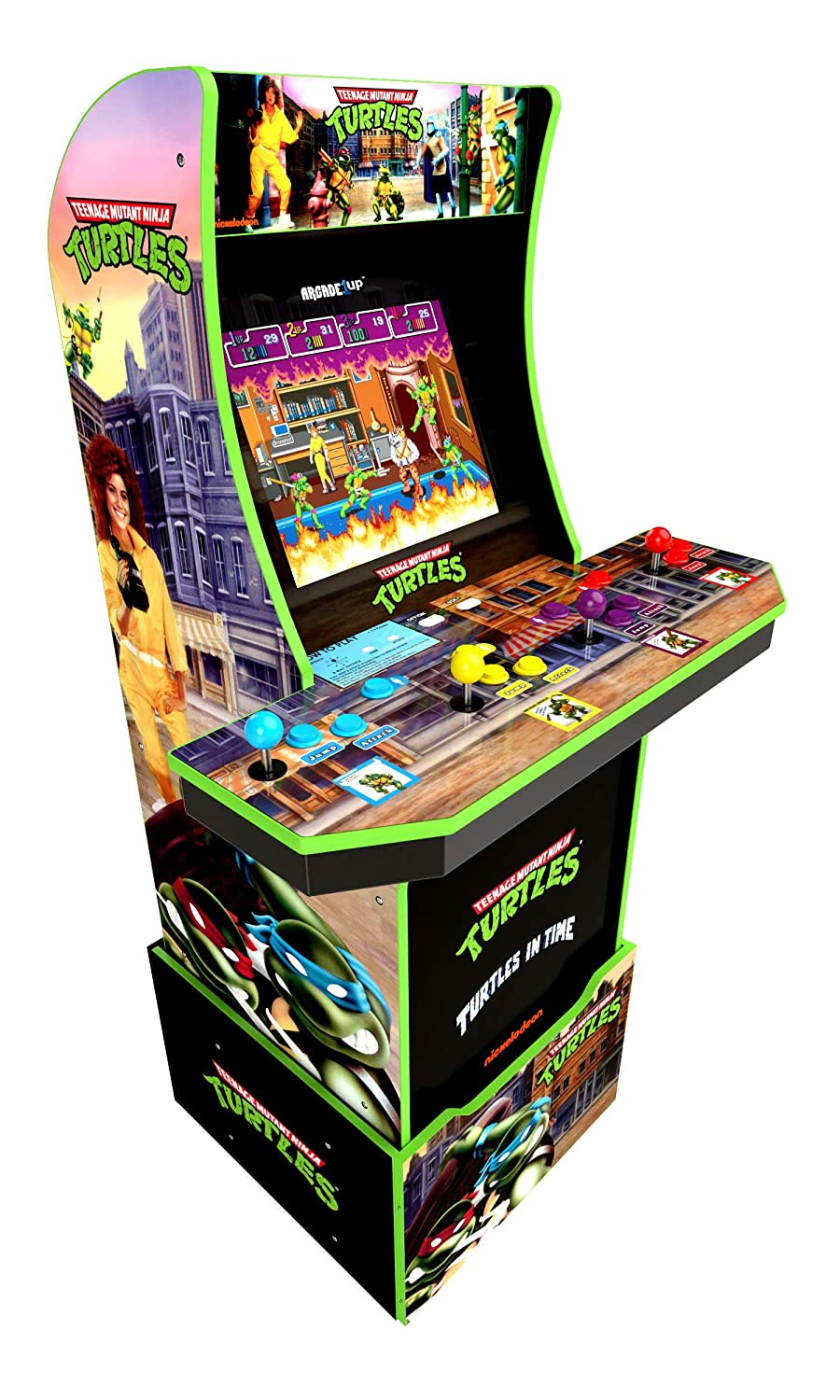Arcade1Up Teenage Mutant Ninja Turtles Tmnt Home Arcade Machine, 2 Games In 1, 4 Foot Cabinet with 1 Foot Riser - Electronic Games
