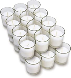 Harmonic Blossom Glass Votives 24 Pack - Premium White Unscented Votive Candles in Clear Elegant Holders - 15 Hour Long Lasting Burn Time - for Weddings, Parties and Event Decoration Centerpieces