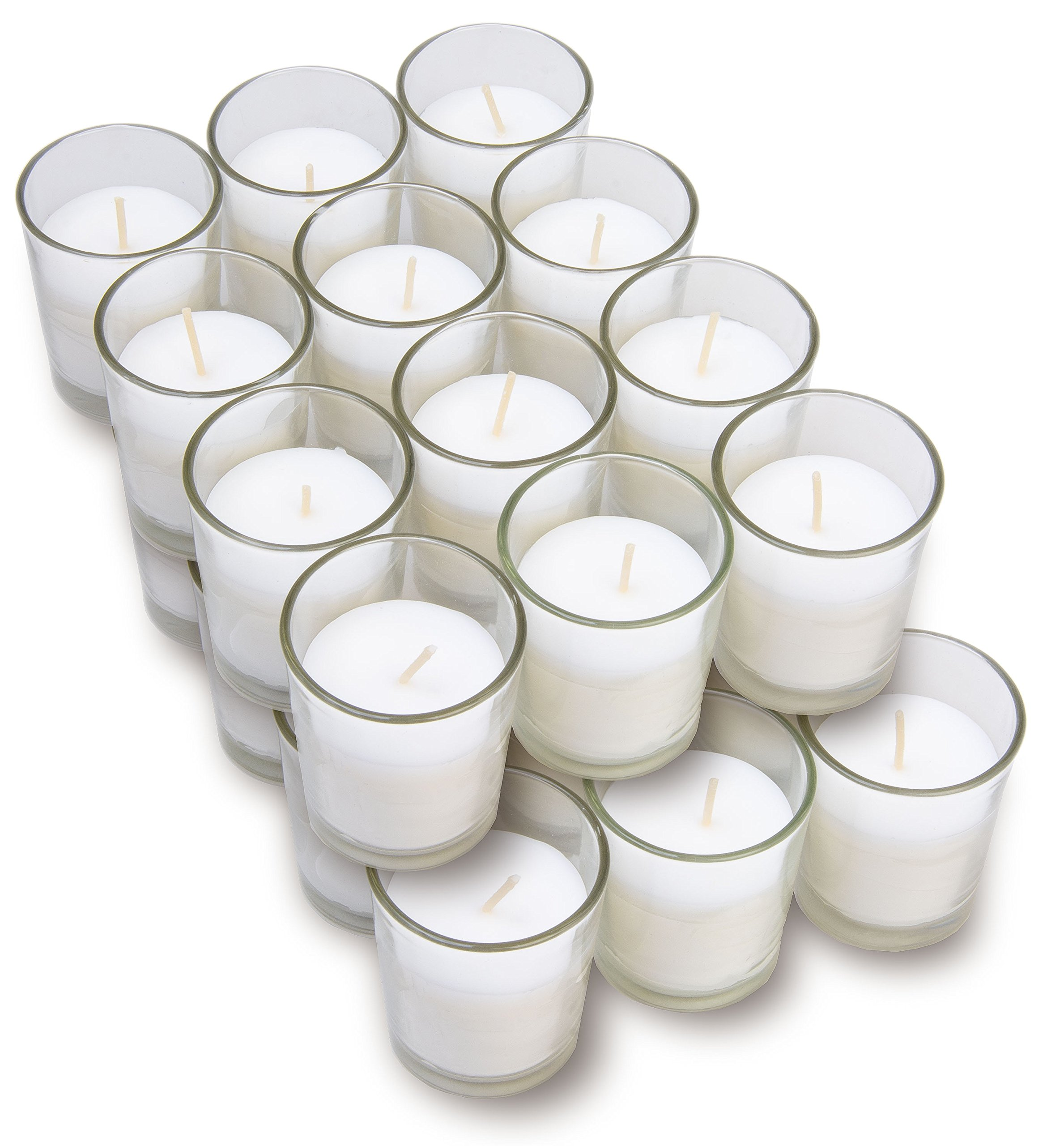 Harmonic Blossom Glass Votives 24 Pack - Premium White Unscented Votive Candles in Clear Elegant Holders - 15 Hour Long Lasting Burn Time - For Weddings, Parties and Event Decoration Centerpieces by Harmonic Blossom