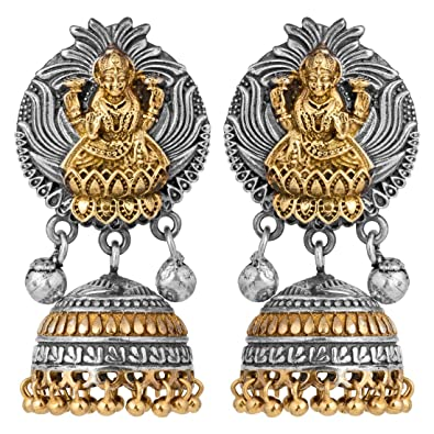 10605d611 Buy Peora Indian Goddess Laxmi Design Oxidised Temple Jhumki Earrings Indian  Ethnic Jewellery for Women Online at Low Prices in India | Amazon Jewellery  ...