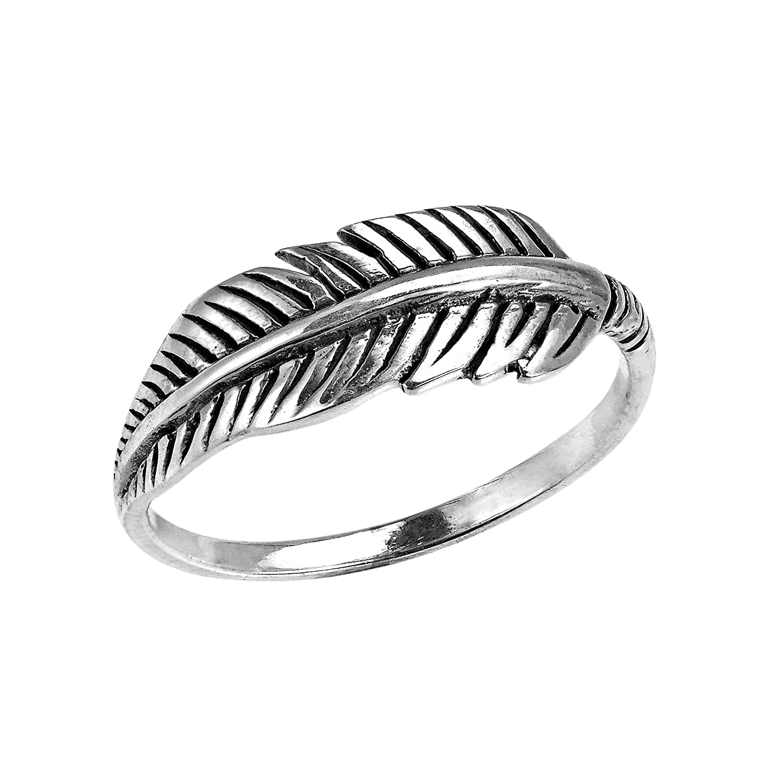 Silverly Women's .925 Sterling Silver Quill Plume Feather Leaf Oxidised Vintage Style Ring 0ul1PHXiob