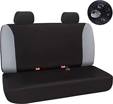 Elantrip Waterproof Rear Bench Seat Cover Water Resistant Universal Fit Seat Protection Quick Install for Cars SUV Truck Black and Gray 3 PC