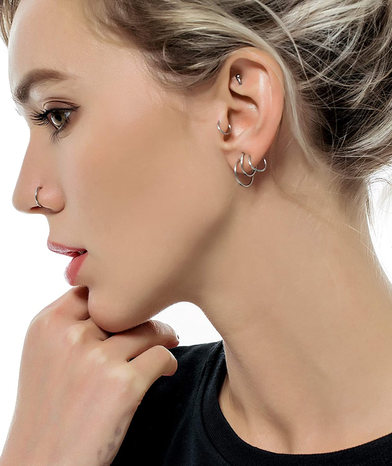 Tornito 6-8Pcs 18G-16G-14G Stainles Steel Septum Clicker Ring Seamless Lip Nose Daith Cartilage Helix Tragus Hoop Ring