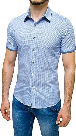 Evoga - Camisa de manga corta para hombre, corte entallado, informal, de verano: Amazon.es: Ropa y accesorios