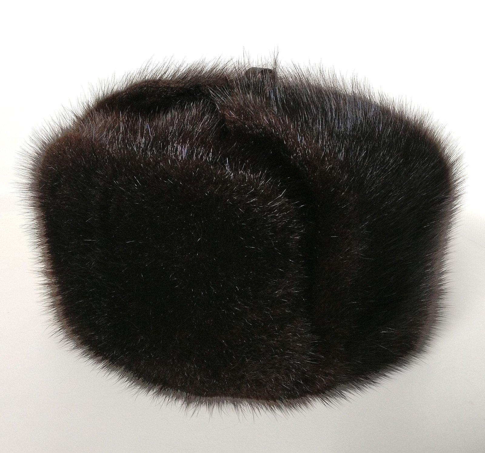 Russian Legacy Brown Muskrat Fur Trooper Winter Hat (XXX-Large)