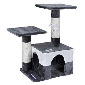 feandrea Árbol para gatos Juguete Rascador Columnas cubiertas de sisal con ratón decorativo PCT27G