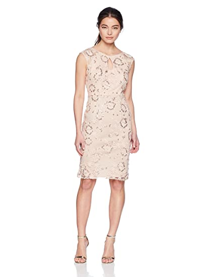 c1234f9720261 Alex Evenings Women's Petite Embroidered Cocktail Dress with Keyhole ...