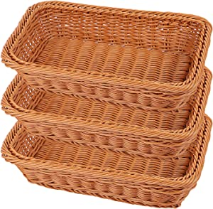 KEILEOHO 3 Packs Poly Wicker Bread Baskets of 12 Inch, Handmade Woven Pantry Organizer, Tabletop Food Serving Baskets for Fruits, Vegetables and Snacks, Restaurant, Hotel Serving, Brown