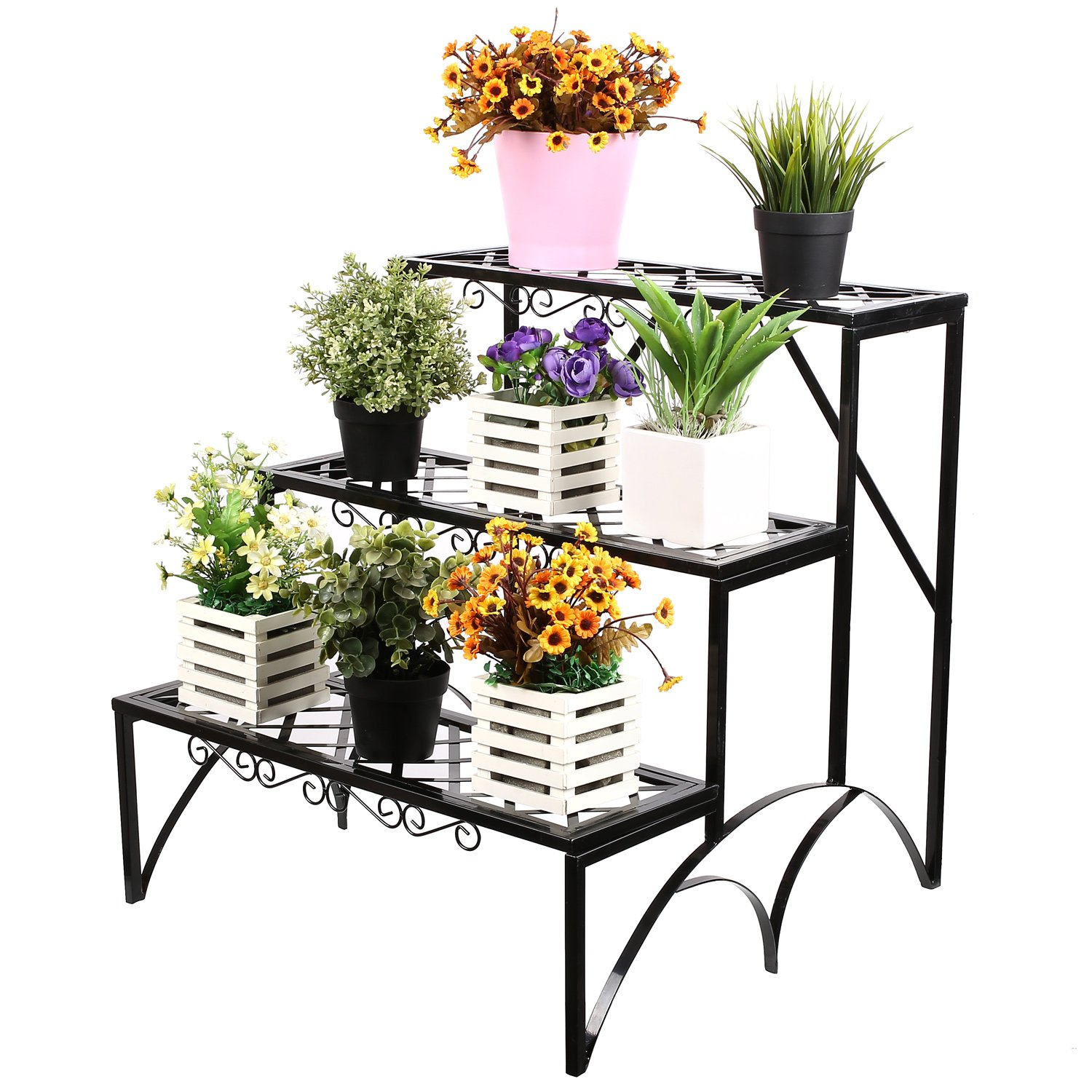 Homfa 3 Tier Plant Stand Metal Garden Pot Display Shelf