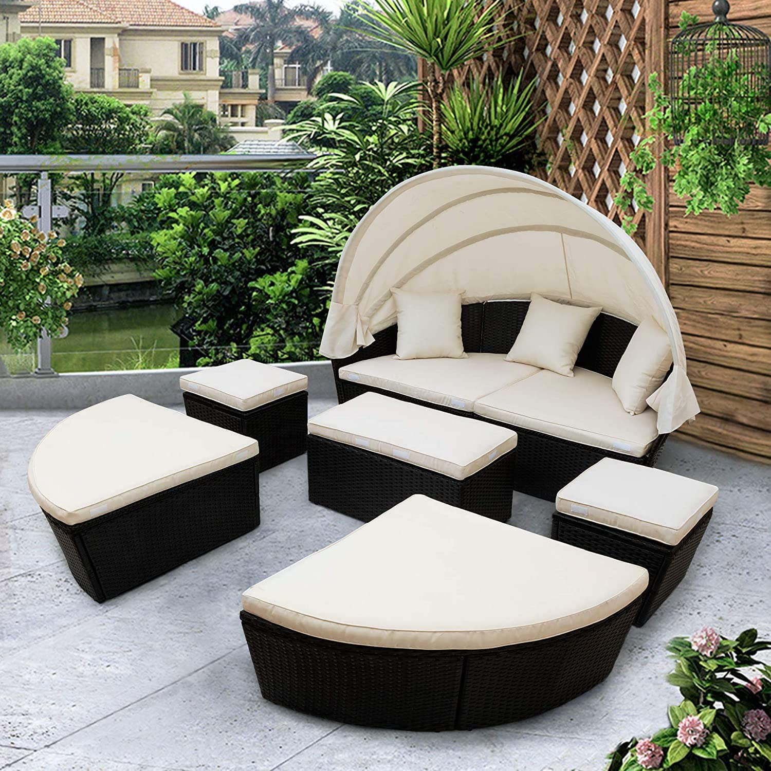 Lucakuins Outdoor Sectional Sofa Set Round Daybed Patio Wicker Furniture Clamshell Seating Outdoor Rattan Sunbed with Retractable Canopy Washable Cushions Lawn Pool Garden Seating (US Warehouse)