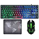 CHONCHOW Gaming Keyboard and Mouse Combo Led Compact Teclado 87 Keys Wired Rainbow Backlit Tenkeyless Keyboard and Mouse Mousepad Compatible with Windows PC Mac Vista (Black) (Color: Black)