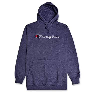super popular 604b8 099fe Champion Mens Big and Tall Hoodie Sweatshirt with Embroidered Script Logo  Navy Marled XLT