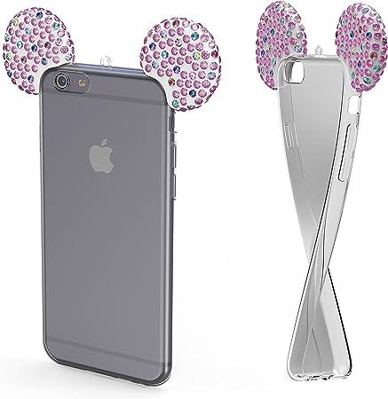 Urcover Custodia Apple iPhone X / 10 Orecchie Topolino Cover Silicone Trasparente Morbida con Laccio, Back Case Apple iPhone X / 10 con Strass ...