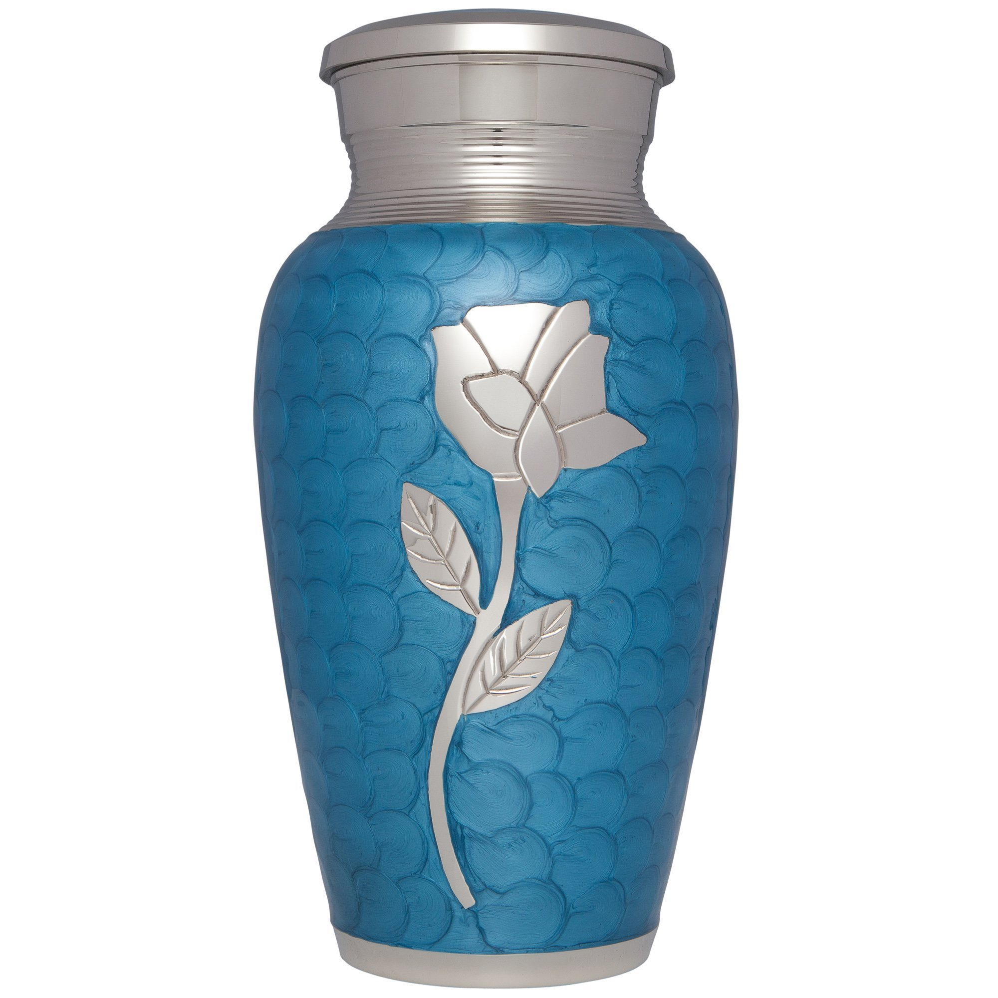 Blue Funeral Urn by Liliane Memorials - Cremation Urn for Human Ashes - Hand Made in Brass - Suitable for Cemetery Burial or Niche - Large Size fits remains of Adults up to 200 lbs- Perugia Blue Model
