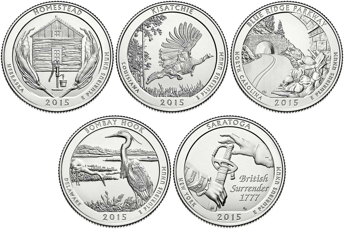 2018 D BU National Parks Quarters 5 coin Set Denver Mint Uncirculated