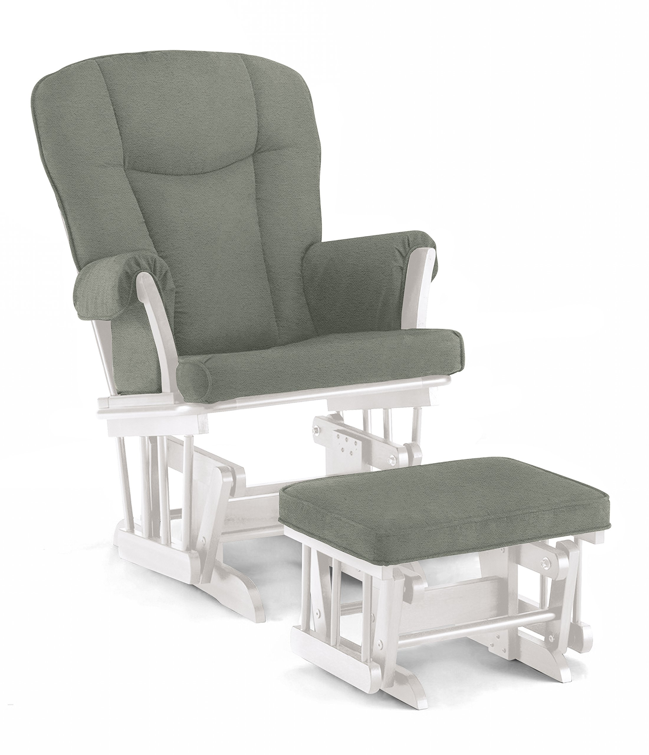 Lennox Stanton Transitional Style Glider Chair and Ottoman Combo, White with Grey by Lennox Furniture