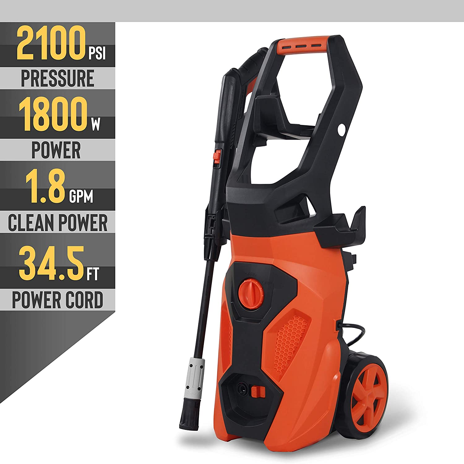 YIGOBUY Electric Pressure Washer High Power 1.8GPM Pressure Cleaner with Spray Gun, 26ft High Pressue Hose, Hose Reel