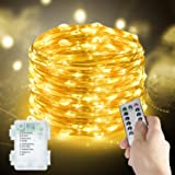 Metaku Fairy Lights 2-Pack Battery Operated String Lights with Remote 33Ft 100 LEDs Dimmable Firefly Lights with 8 Modes & Ti