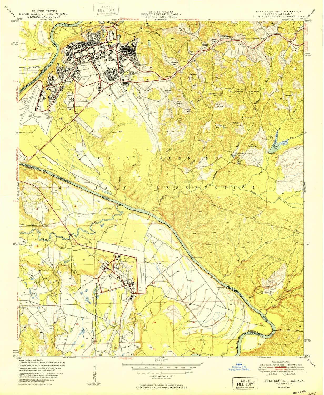 Map Of Georgia Fort Benning.Amazon Com Yellowmaps Fort Benning Ga Topo Map 1 24000 Scale 7 5
