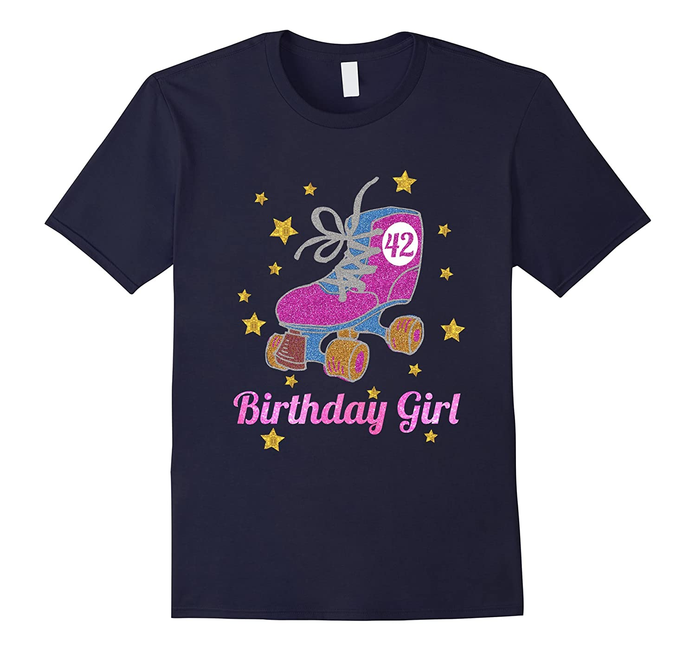 42nd Birthday Shirt Pink Glitter Roller Skate T-Shirt-Vaci