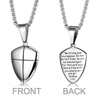 Amazon loyallook stainless steel shield of faith engraved loyallook stainless steel shield of faith engraved joshua 19b armor of god cross pendant aloadofball Choice Image