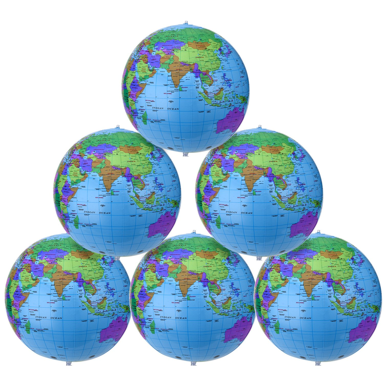 Pangda 16 Inch Inflatable Globe Inflatable World Globe Beach Ball Globe for Educational Beach Playing, Colorful (6)
