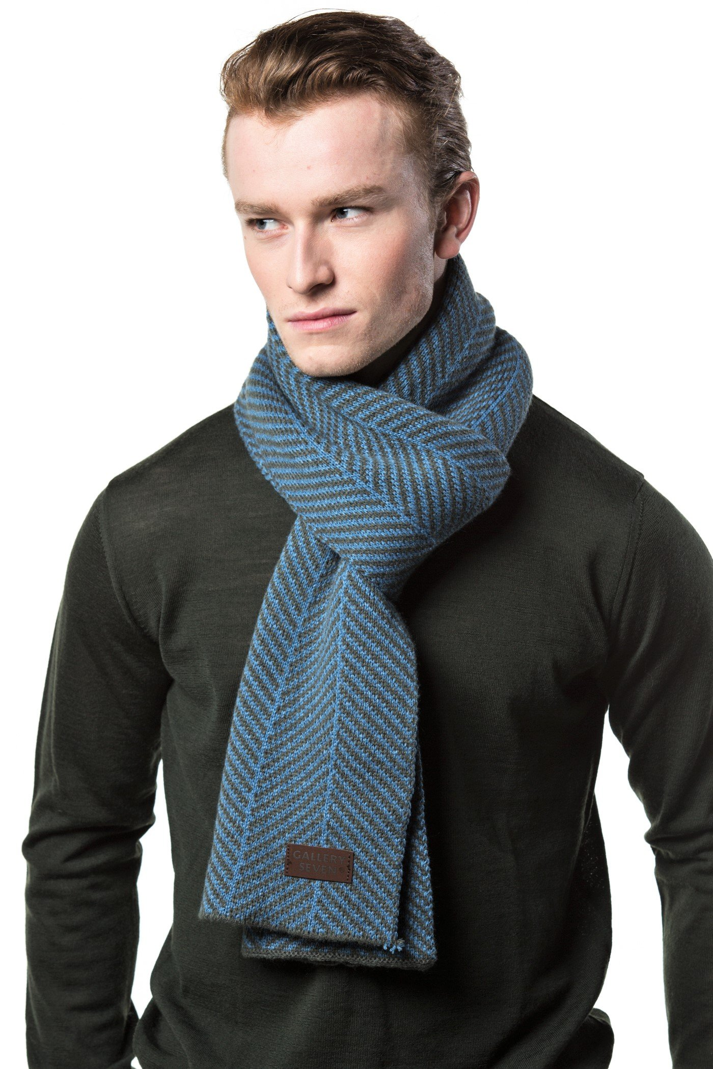 Gallery Seven Winter Scarf for Men, Soft Knit Scarve, in an Elegant Gift Box - Gray/Blue