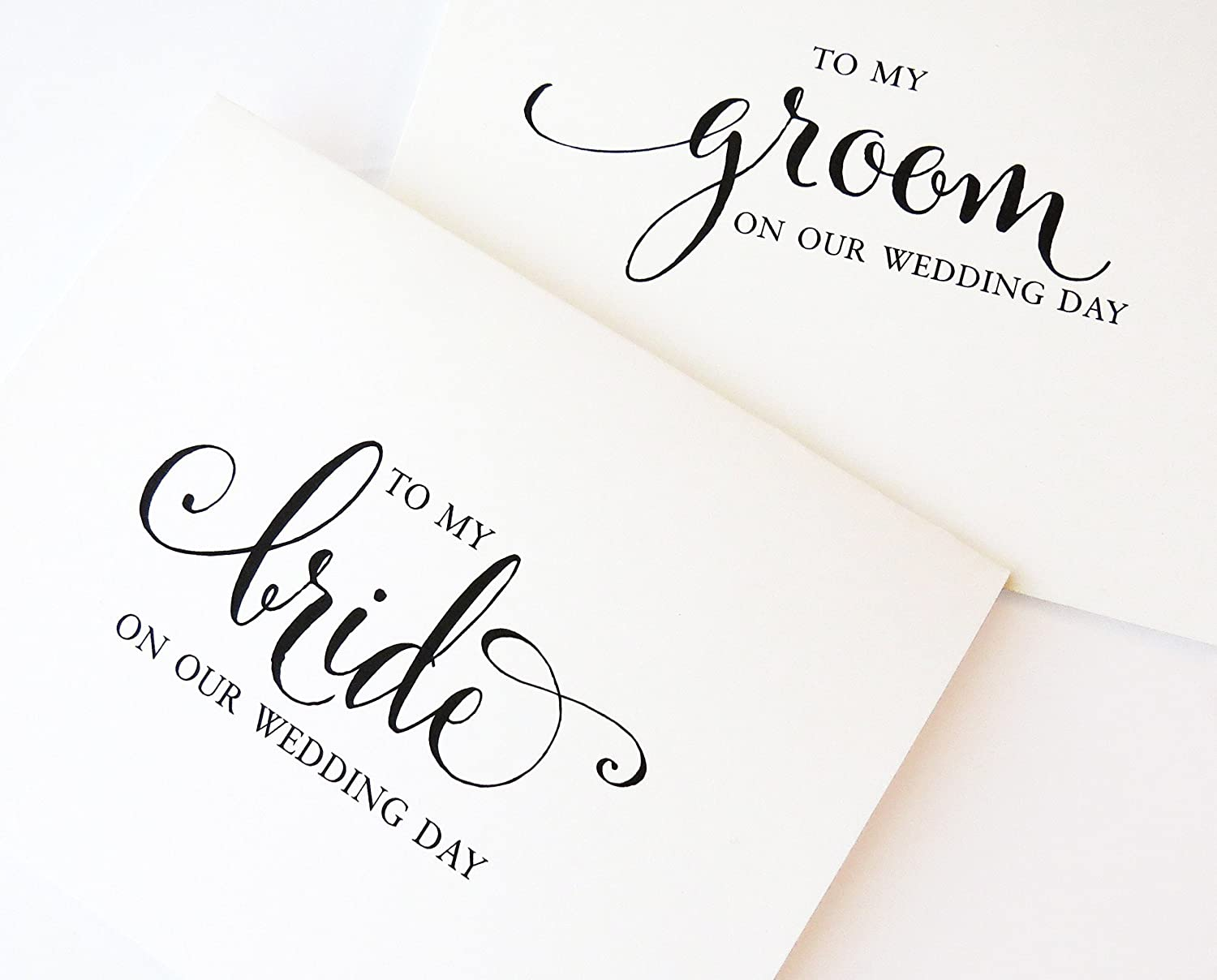 To my Bride on our Wedding Day, To my Groom on Our Wedding Day, Groom Gift, Bridal Card from Husband to Wife, Day of Gift, 1 or 2 Greetings Cards with envelopes - Your Choice