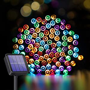 SUDDUS 100 LED 33ft Solar Christmas Lights, Solar Powered Christmas Lights With 8 Lighting Modes, Waterproof Multicolors Green Wire for holiday décor, Indoor Outdoor Patio Yard Trees Wedding Party
