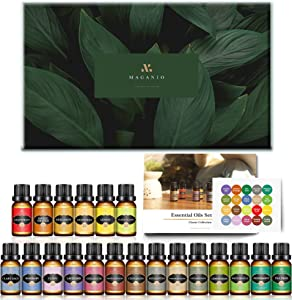 MAGANIO Classic Essential Oils Gift Set Top 20 [Selected A+ Plants] 100% Pure Natural, 10ML Therapeutic Grade Organic Oils Kit for Diffusers, Humidifiers, Candles & Soap Making, Skin & Hair Care