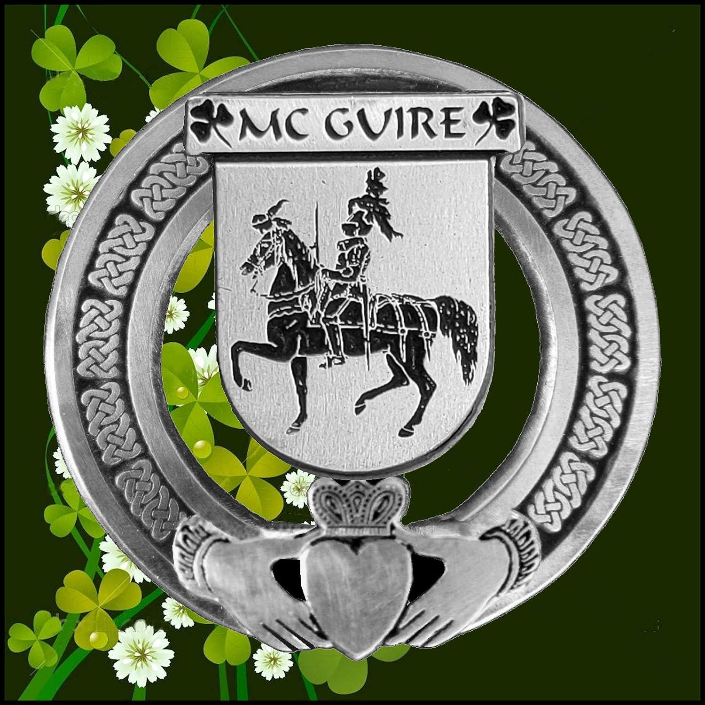 McGuire Irish Coat of Arms Claddagh Badge
