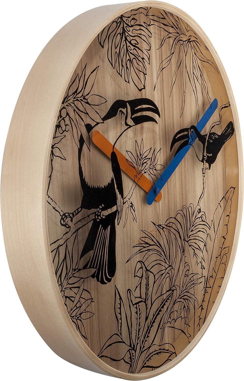 lautlos rund NeXtime Wanduhr Tropical BRIDS /ø 40 cm aus Holz