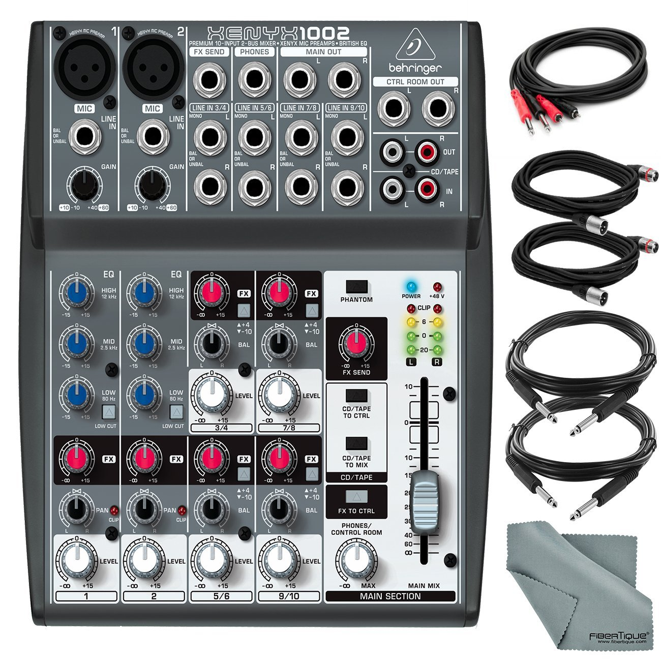 Behringer XENYX 1002 - 10 Channel Audio Mixer and Accessory Bundle w/ 5X Cables + Fibertique Cloth by Photo Savings