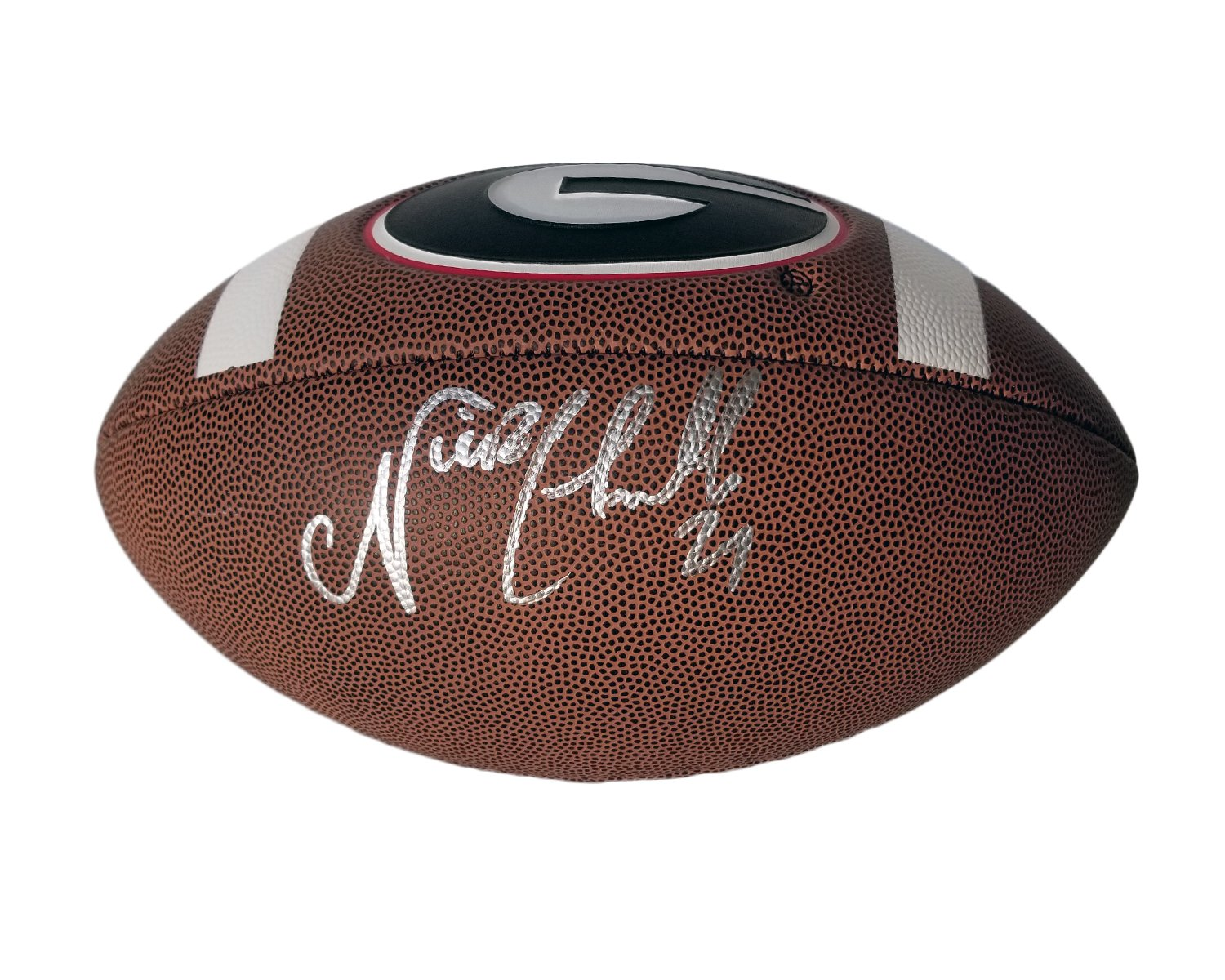 Nick Chubb Autographed/Hand Signed Georgia Bulldogs Full Size Brown Football - Beckett COA Sports Addiction