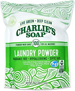 product image for Charlie's Soap Laundry Powder (100 Loads, 1 Pack) Fragrance Free Hypoallergenic Deep Cleaning Laundry Powder – Biodegradable Laundry Detergent That Is Both Safe and Effective…