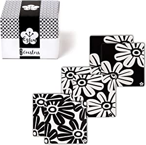 Absorbent Coasters for Drinks with Cute Floral Modern Art Designs - Large Square Natural Ceramic Coasters Prevent Water Rings on Your Furniture - Home Decor - Black and White Coasters - Set of 6