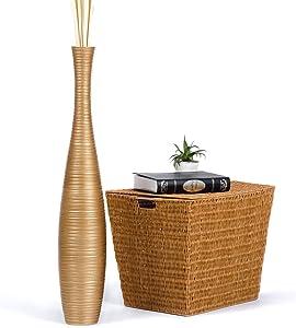 Leewadee Tall Big Floor Standing Vase for Home Decor 36 inches, Mango Wood, Golden