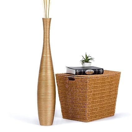 Amazon Leewadee Tall Big Floor Standing Vase For Home Decor 6x36 Inches Wood Golden Kitchen