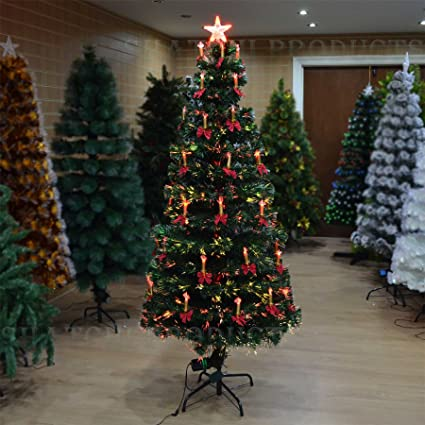4ft Christmas Tree.Shatchi 4ft 120cm Christmas Tree Fiber Optic Pre Lit Xmas Ttree With Candle Bow With Led Lights Green 4ft