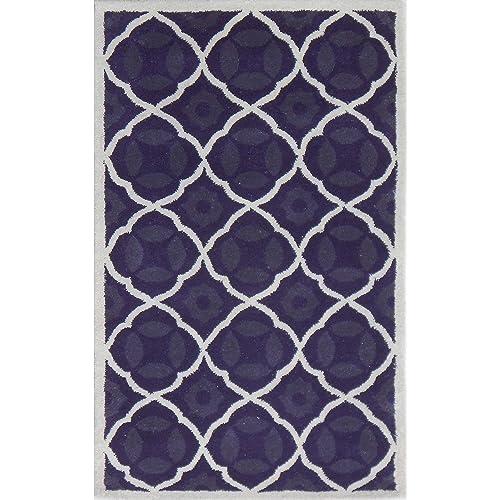 Safavieh Chatham Collection CHT821B Handmade Purple and Ivory Premium Wool Area Rug 5 x 8