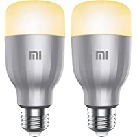 مجموعة مصابيح ال اي دي ميجيا مي ذكية وملونة E27 باصدار عالمي وتدفق ضوئي 800 لومن وقوة 10 واط ومتحكم صوت يعمل بانظمة جوجل…